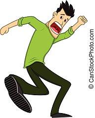 maschio corre, spaventato, cartone animato