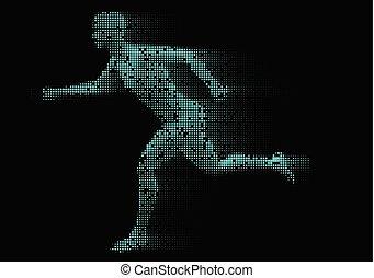maschio, correndo, pixelated, 0411, figura
