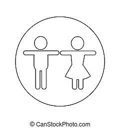 maschio, disegno, femmina, illustrazione, icona