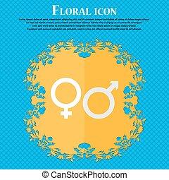 maschio, e, female., floreale, appartamento, disegno, su, uno, blu, astratto, fondo, con, posto, per, tuo, text., vettore