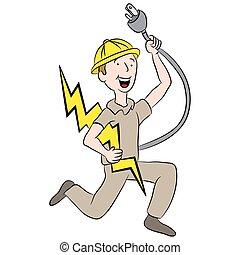 maschio, elettricista, cartone animato