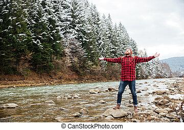 maschio, escursionista, divertimento, su, il, fiume