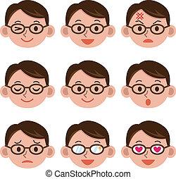maschio, espressione, facciale