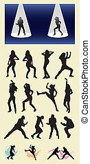 maschio femmina, ballerino, silhouette