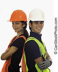 maschio femmina, hardhat, lavorante