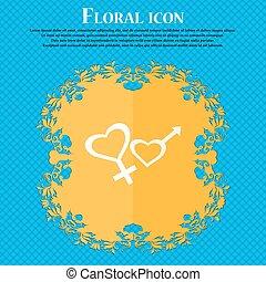 maschio femmina, icon., floreale, appartamento, disegno, su, uno, blu, astratto, fondo, con, posto, per, tuo, text., vettore