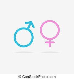 maschio, femmina, icona, sessuale, orientamento
