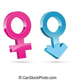 maschio, femmina, icone