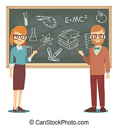 maschio femmina, insegnanti, standing, davanti, vuoto, scuola, lavagna, vettore, illustrazione