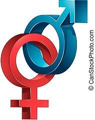 maschio, femmina, signs.