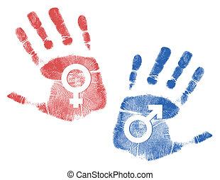 maschio, handprint, femmina, segni