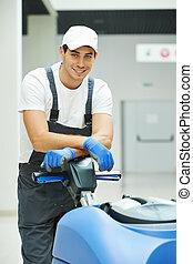 maschio, lavoratore, pulizia, affari, salone