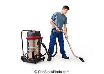 maschio, lavoratore, pulizia, con, aspirapolvere