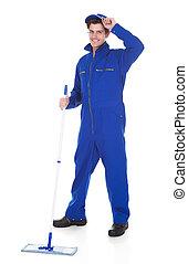 maschio, lavoratore, pulizia, pavimento