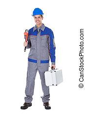 maschio, lavoratore, strappare
