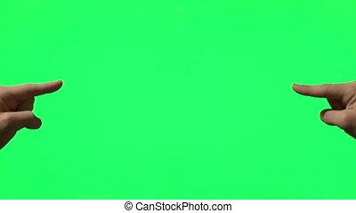 maschio, mano, gesti, su, verde, schermo