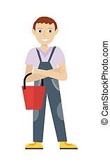 maschio, membro, di, pulitore, servizio, personale, in,...