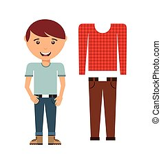 maschio, moda, indossare, icona