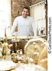 maschio, negozio antico, proprietario