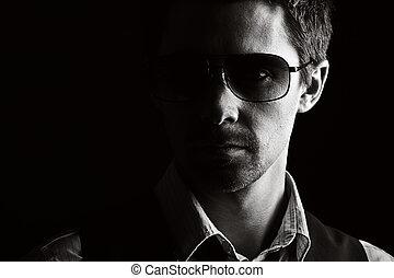 maschio, occhiali da sole, bello
