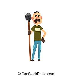 maschio, pala, carattere, illustrazione, allegro, vettore, fondo, contadino, lavoro, bianco, agricoltura, agricoltura, giardiniere
