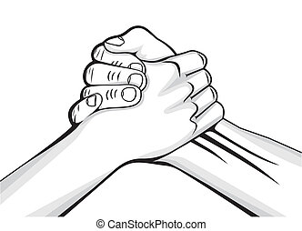 maschio porge, due, stretta di mano