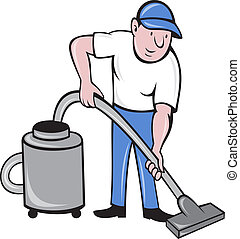 maschio, pulitore, vacuuming, con, vuoto, pulizia