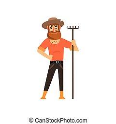 maschio, rastrello, carattere, illustrazione, allegro, vettore, fondo, contadino, lavoro, bianco, agricoltura, agricoltura, giardiniere, felice