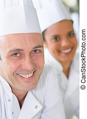 maschio, ritratto, femmina, dirigere spalle, chef