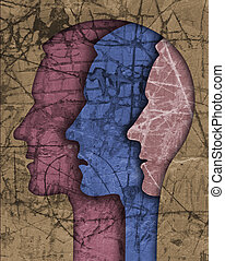 maschio, schizofrenia, testa, silhouette.