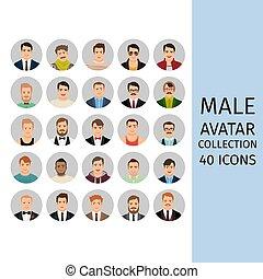 maschio, set, avatar, collezione, icone