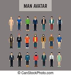 maschio, set, avatar