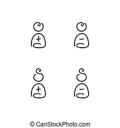 maschio, set, femmina, icone