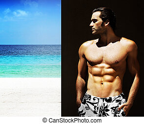 maschio, shirtless, modello