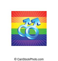 maschio, simboli, su, ardendo, arcobaleno, fondo