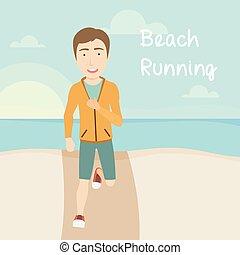 maschio, spiaggia, corridore