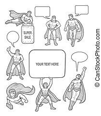 maschio, superhero, disegni