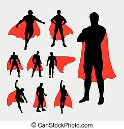 maschio, superhero, silhouette
