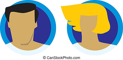 maschio, teste, femmina, icone