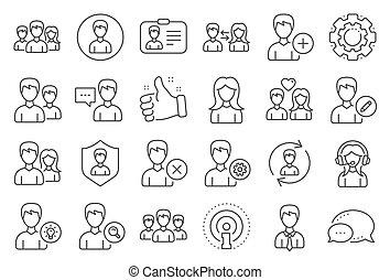 maschio, vettore, profiles., femmina, utenti, linea, icons.