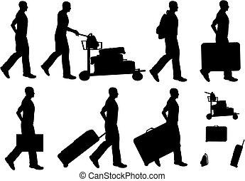 maschio, viaggiatori