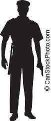 maschio, vigilare ufficiale, silhouette