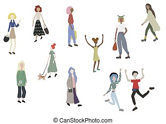 maschio, white., camminare, shopping., isolato, cane, standing, folla, persone, femmina, caratteri, correndo, ballo
