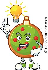 Mascot a have an idea in christmas ball cartoon.
