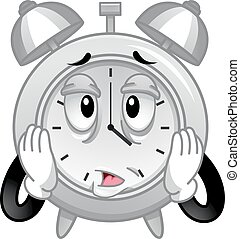 Mascot Alarm Clock Stressed Tired