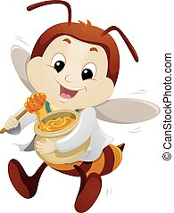 Mascot Bee Doctor Honey - Mascot Illustration of a Happy Bee...