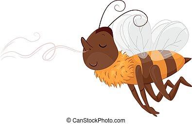 Mascot Bee Follow Scent - Animal Mascot Illustration...