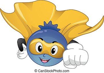 Mascot Blue Berry Superfood Flying - Mascot Illustration of...