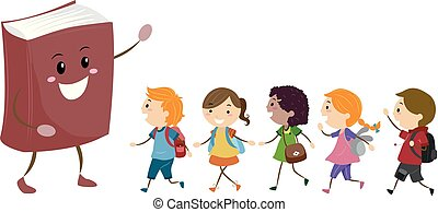 Mascot Book Stickman Kids Students Illustration