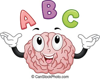 Mascot Illustration of a Brain Teaching the Alphabet